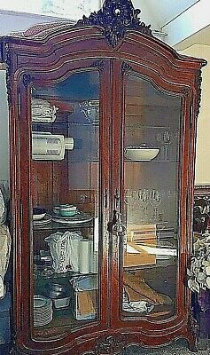 AntiqueFrench Armoire, Louis IV, Walnut Veneered, Glass Doors,Appraised $10,000.