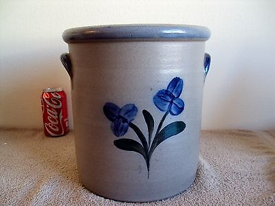 Vintage Rowe Pottery Works Cambridge, WI Blue Flowers  Handmade 2 Gallon Crock