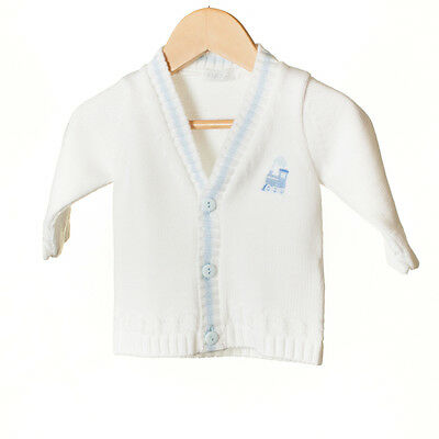 Boys baby white V necked cardigan with cable decorative knit and Train (70)