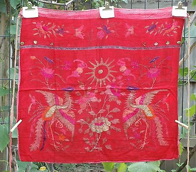 "Antique Chinese Hand Embroidered Fabric Textile Panel 31""x 29"""
