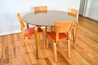 Mid Century Thonet Table And Chairs Bentwood Plywood Table And Chairs  Vintage