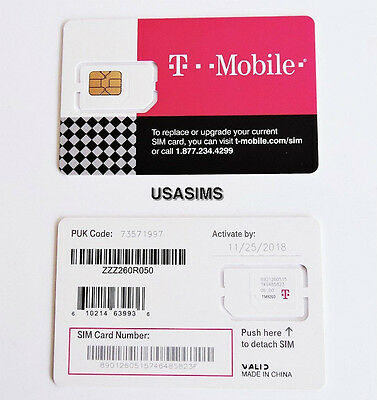 Us Usa T-Mobile 3 In 1 Sim Card For Any Phone Including Iphone  Free P&p
