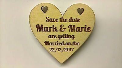 ?? Personalised SAVE THE DATE Heart Fridge Magnets/Tags wedding wood invites d1