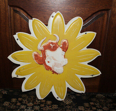 1950's Bordens Ice Cream die cut Tin Advertising sign featuring Elsie the Cow