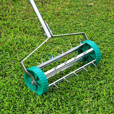 Rolling Grass Garden Lawn Aerator Roller Aluminium Handle Power Tool Free Post A