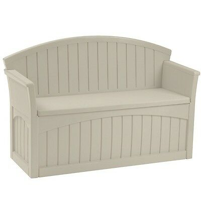 Suncast Storage Patio Seat Taupe Plastic Resin Bench With Storage Garden Bench