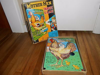 Vintage Mechanical Mother Hen Target Game Display Tin Toy Old in Original BOX