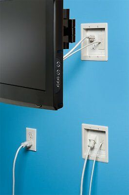 TV Box Wiring Kit In-Wall Wire Set Pre-Wired TV Bridge 2-Gang Boxes White Easy