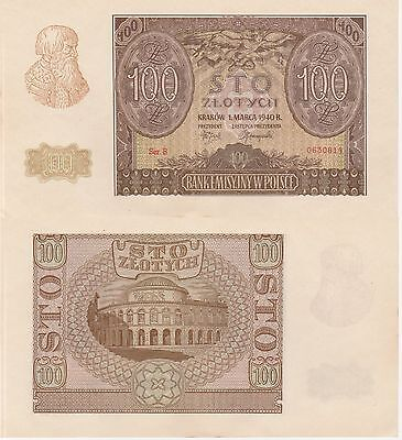 Poland 100 Zlotych Banknote 1940 About Uncirculated Condition Cat#97-0814