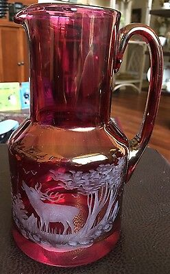 Cranberry Incised Glass Pitcher Deer Woodland Scene Substantial