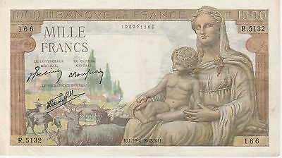 France 1000 Francs Banknote,29.4.1943 Very Fine Condition Cat#102