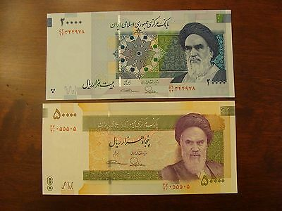 Current Iran 20000 And 50000 Rial Uncirculated Banknotes