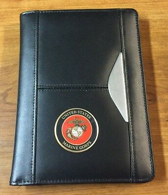 USMC UNITED STATES MARINE CORPS SEMPER FI Leather Like Portfolio with Pad / PEN