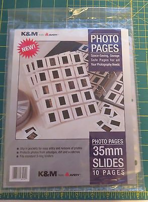 NEW K&M Avery Photo Pages For 35mm Slides Holds 20 - 10 Pages