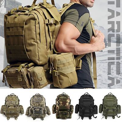55L Army Military Tactical Backpack + 1 Waist Bag + 2 Side Bags Bag Rucksack Kit
