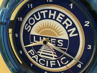 Southern Pacific Lines Railroad Train Man Cave Advertising Neon Clock Sign