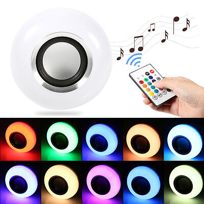 12W E27 LED RGB Wireless Bluetooth Speaker Bulb Light Music Lamp with Remote HG