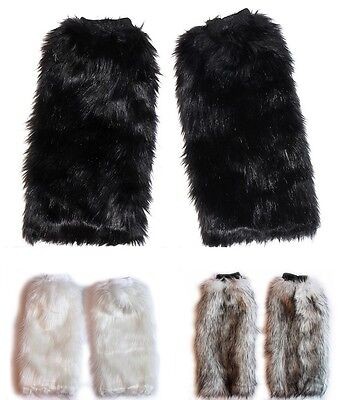 Black Cat Costume Boot Covers Leg Warmers Fluffy Furry Fox Cosplay Accessories