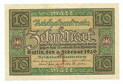 **1920 Germany Banknote - 10 Mark Reichsbanknote ~ German Currency Bill
