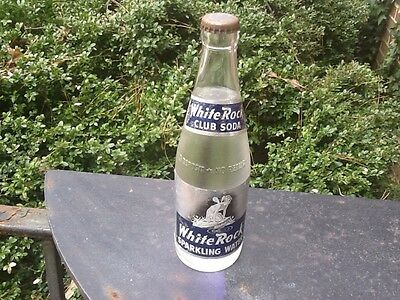 White Rock Club Soda 12 Oz Full Bottle Paper Label Bare Breast Nymph Fairy Nmt