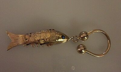 Vintage? Sectioned Articulated Fish Blue Rhinestone Eyed Keyring Gold Brass Tone
