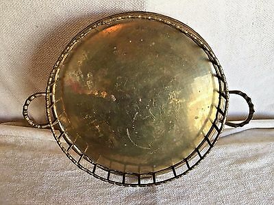 Vintage Brass Rail Sided Round Tray with 2 Handles