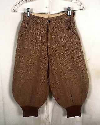 vtg 1920's 20s big youth size Woven Wool Tweed Brown Knickers button fly SZ 24