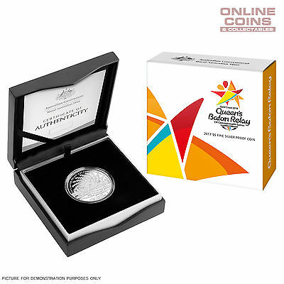 2017 $5 Fine Silver Proof Coin - Queen'S Baton Relay - Limited Mintage Of 2018