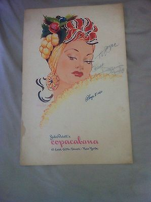 World Famous Copacabana Nightclub Menu