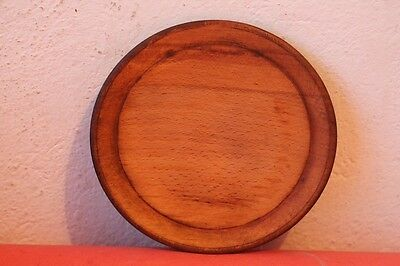 Old Antique Authentic Primitive Hand Carved Wooden Treenware Round Plate .