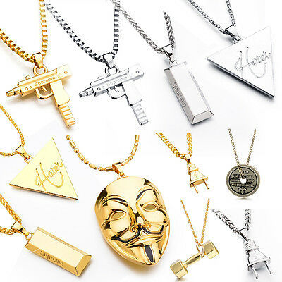 Silver/Gold Plated Electric Power Plug Pendant Shock Hip Hop Necklace Chain Gift