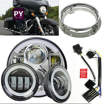 80W 7inch Round LED Headlight +fog light Kit Harley Davidson motorcycle Daymaker