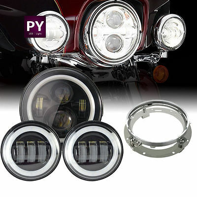 7 inch Round LED Headlight + fog light+ ring Haley Davidson motorcycle Daymaker