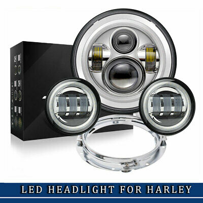 "7""inch Round LED Headlight H4 fog lamp ring Harley Davidson motorcycle Daymaker"