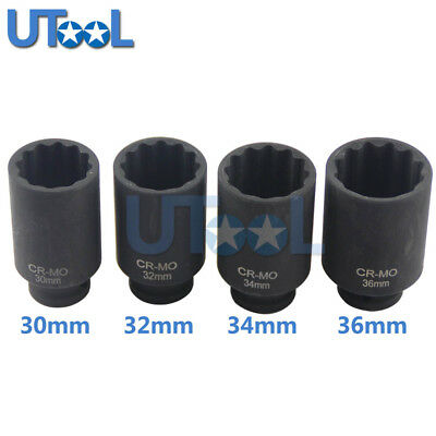 12PT Deep Impact Socket Spindle Axle Nut Socket Wrench Tool 30 32 34 36mm