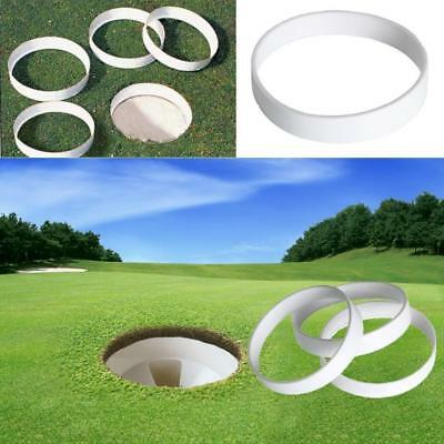 White Plastic Golf Putting Green Hole Cup Ring Accessory 11cm Diameter