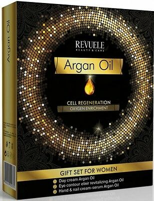 Revuele Argan Oil Gift Set Cell Regeneration - Day Cream, Eye Elixir, Hand Cream