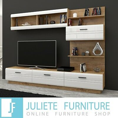 TV-Entertainment-Wall-Unit-TV-stand-Living-room-furniture set - WHITE HIGH GLOSS