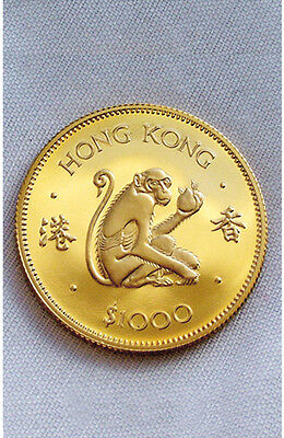 1980 Hong Kong $1000 Gold Proof Coin - The Year of the Monkey