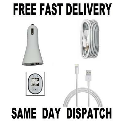 NEW Ultra Fast USB Car Charger + CABLE for iPhone 7 6 6s 7/6 Plus 5/5S IPAD AIR