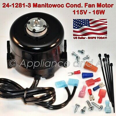 2412813 24-1281-3 MANITOWOC Condenser Fan Motor 115V + Hardware - Ships on