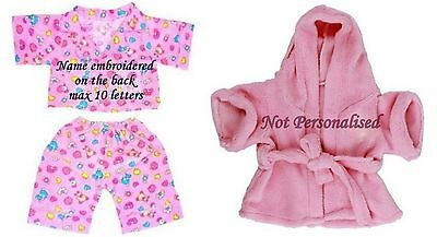 Teddy Clothes fit Build a Bear Teddies Pink Robe Pyjamas Bears Clothing Outfits