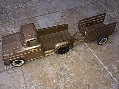 Vintage 1960's Tonka Pickup Truck And Trailer Pressed Steel For Parts Or Restore