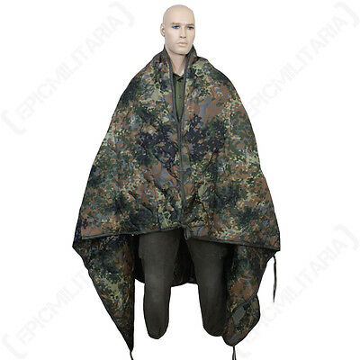 Rip Stop Poncho Liner - Flecktarn Camo - Rain Cape One Size Camping Army New