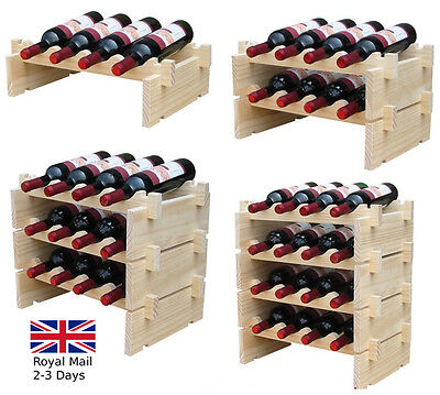 Bottles Stackable Wine Storage 1-4 Tier Rack Solid Wood Wine Display Shelves