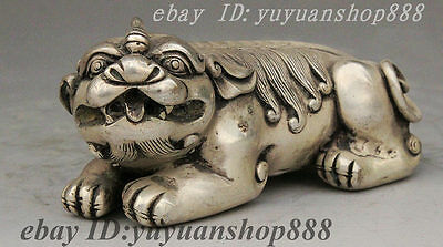 Folk China Chinese Silver Strong Protect Evil Qi Lin Dragon Beast PiXiu Statue