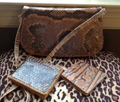 lot of Vintage genuine snakeskin And Leather 2 wallets and a purse