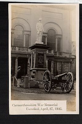 Carmarthen - Carmarthenshire War Memorial - real photographic postcard