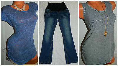 LOT of 3 MATERNITY Tunics Tops Jeans OUTFIT Jessica Simpson Motherhood LARGE   d