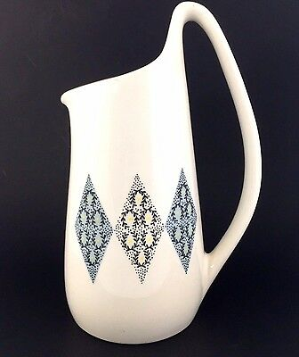 Iroquois Blue Diamonds Coffee Pot Ben Seibel Informal China Mid Century VTG